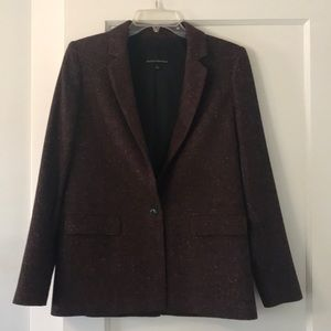 Red Tweed One Button Blazer